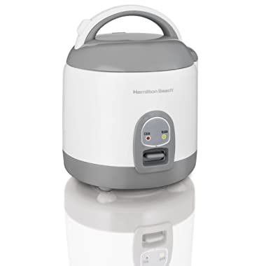Hamilton Beach (37508) Rice Cooker with Rinser/Steam Basket, 4 Cups uncooked resulting in 8 Cups cooked, Mini, White