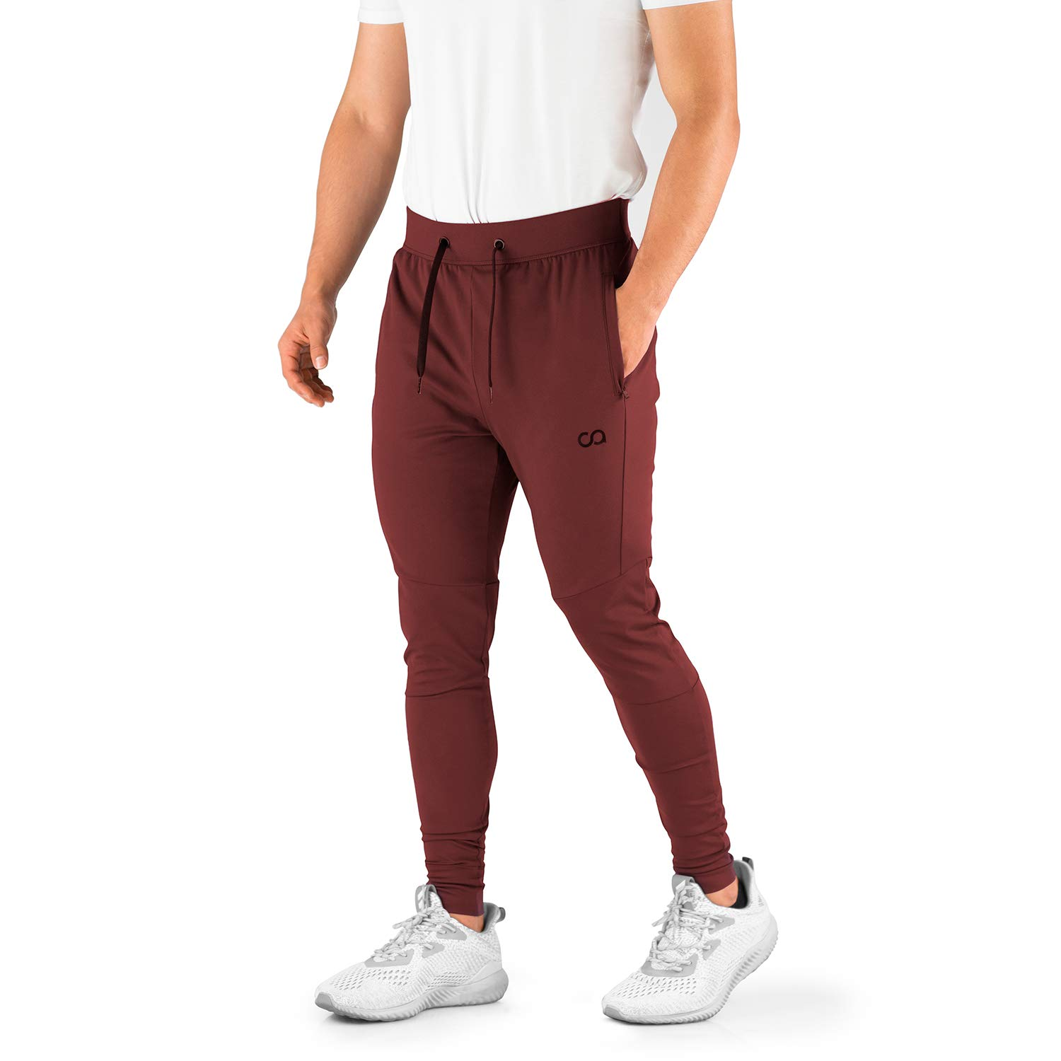 Contour Athletics Men's Joggers (HydraFit) Track Pants Sports Workout Sweatpants with Zipper and Back Pockets CA0003-SM Maroon