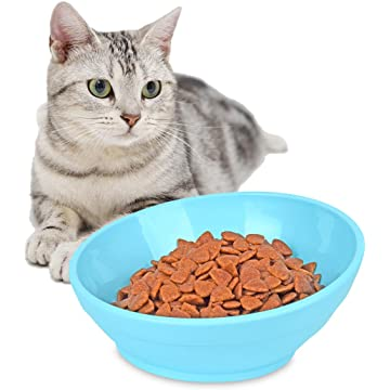 PERSUPER Slanted Dog Bowl Cat Food Bowl - Tilt Pet Dog Feeder Cat Water Bowl with No Spill Wide Mouth Anti-Skid Dog Food Cat Bowl Pet Sterile Tableware Supplies