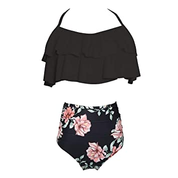 Mujer Traje de baño Cintura Alta Ruffle Conjunto de Bikini ...