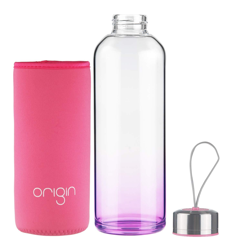 ORIGIN Best BPA-Free 100% Borosilicate Glass Water Bottle With Protective Neoprene Sleeve and Leak-Proof Stainless Steel Lid | Dishwasher Safe (Aqua Blue, 18 Oz)
