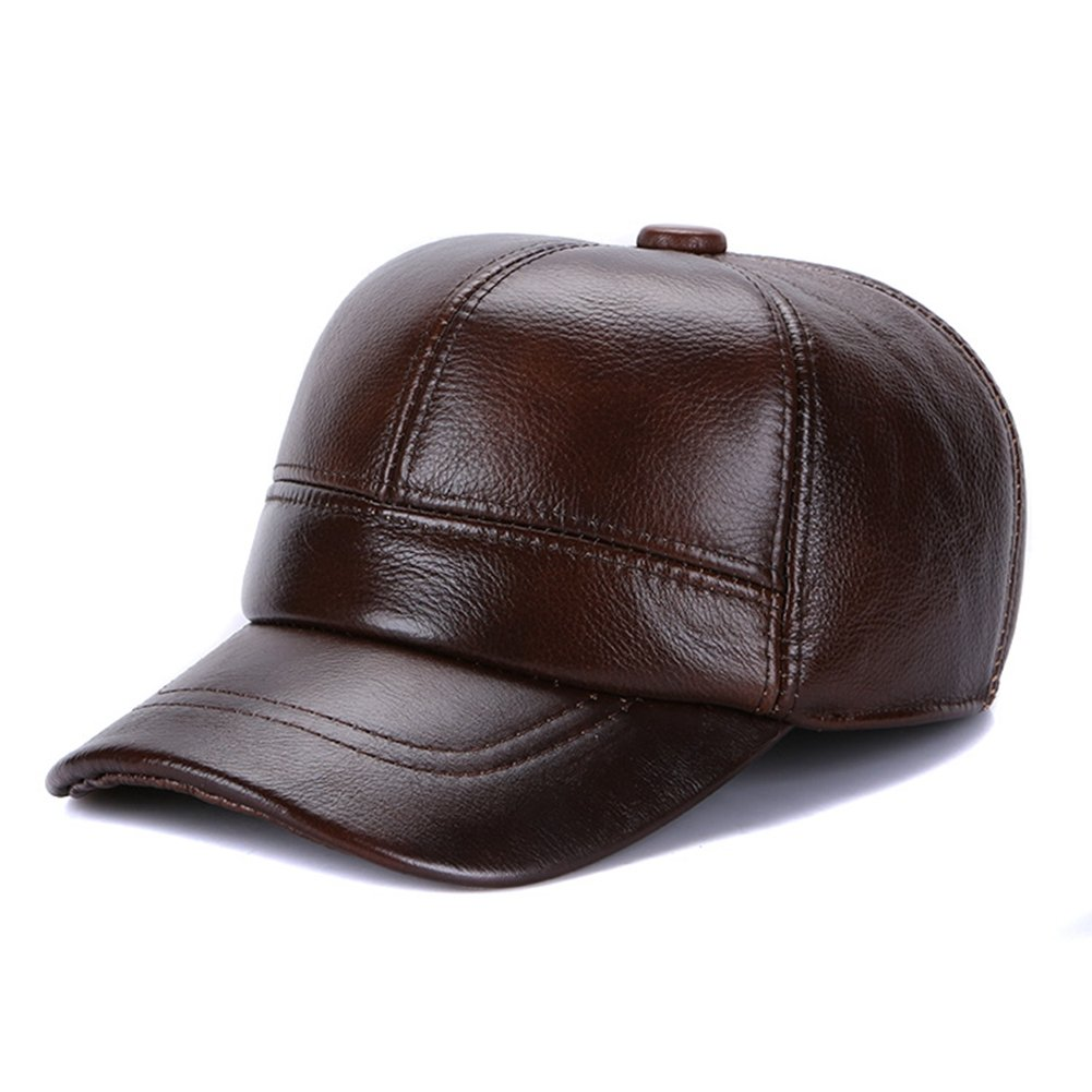 66d1ad1d5d5 Sandy Ting Genuine Cowhide Leather Hat Earflaps Baseball Cap at Amazon  Men s Clothing store