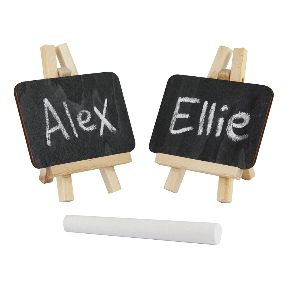 eBuyGB Mini Easel Chalk/Black Board, Wood, Black, Pack of 16 1242103-8
