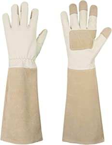 Pruning Gloves Long for Men & Women, Pigskin Leather Rose Gardening Gloves- Breathable & Durability Gauntlet Gloves (Small, Beige)