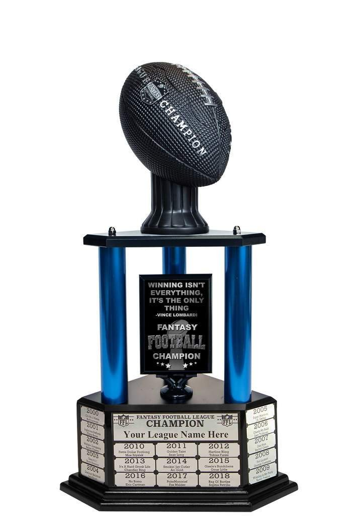 Customizable 26'' Fantasy Football Trophy Free Engraving up to 19 Years Past Winners (Vivid Black) (26'' Tall, Blue Columns) by TrophySmack