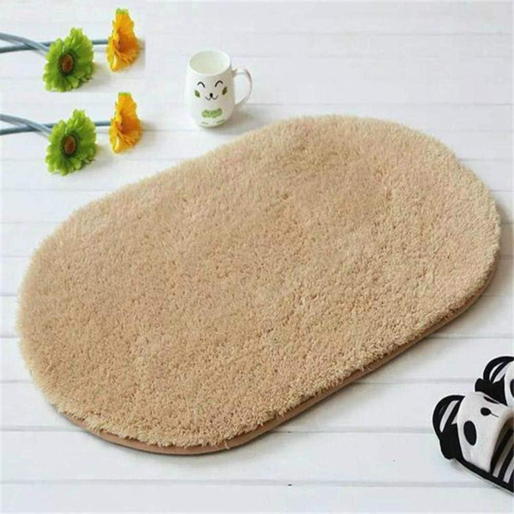Plush Cotton Oval Bath Rug,Thick Soft Floor Mat Absorbent Non Slip Durable Bath Carpet for Bathroom Bedroom Kitchen-a 40x60cm(15.7x23.6inch)