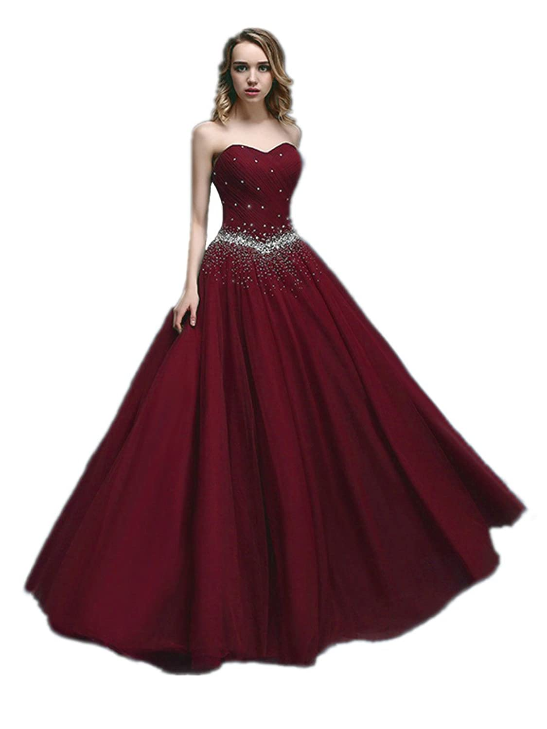 KAIDUN Damen lange Tuell Abendkleid Ballkleid Party kleider: Amazon ...