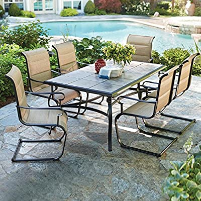 Belleville 7-Piece Padded Sling Outdoor Dining Set - Includes 39.5 in. x 64 in. table and 6 padded sling motion chairs Bronze powder-coated frames & sling fabric are weather-resistant Heavy-duty ceramic tile tabletop is durable and easy to clean - patio-furniture, dining-sets-patio-funiture, patio - 61Au4l0KccL. SS400  -