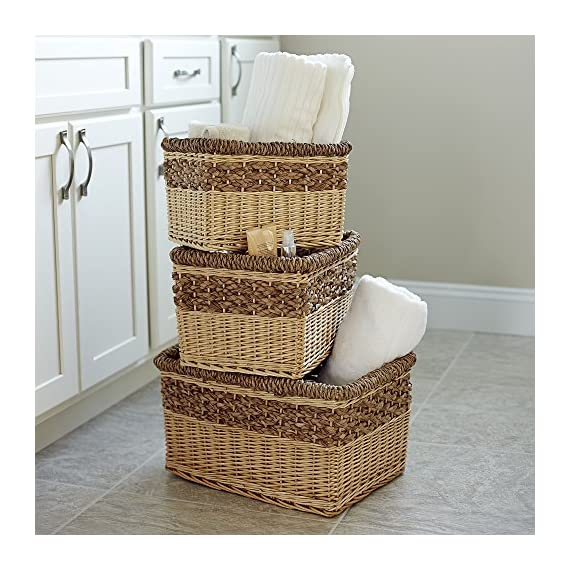 Household Essentials ML-2205 3 Piece Starling Decorative Wicker Storage Basket, Light Brown - Set of 3 nested open storage baskets Hand-woven from willow and Sea grass Decorative weave with 2-tone Natural color palette - living-room-decor, living-room, baskets-storage - 61Au4wEZSIL. SS570  -