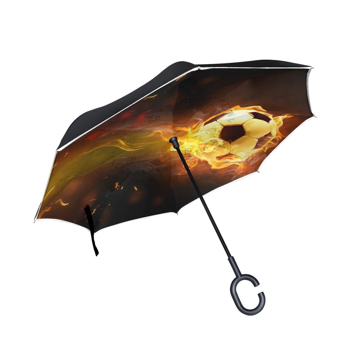 Resistente al Viento Doble Capa Resistente al Viento MNSRUU Paraguas invertido de f/útbol Resistente al Viento Paraguas de Viaje para Mujeres y Hombres