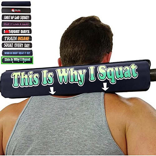 this is why I squat barbell neck pad fits two inch large size oylimpic longbar sleeves for working out cross fit sqauts non bruised supported holder grips body handles lift - Shipping Us With Free Coupon Wrap