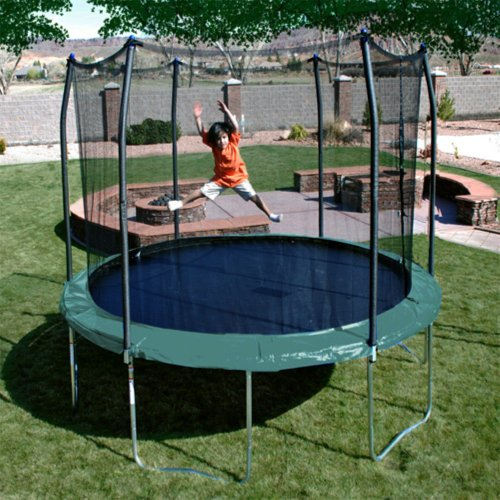 10 12 14ft Round Safety Frame Blue Pad Spring Pad: Skywalker Trampolines 12-Feet Round Trampoline And