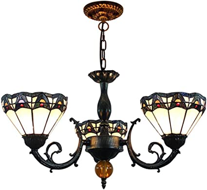 Laz Vintage Tiffany Style Stained Glass 3 Arms Chandelier Victorian Antique Pendant Lamp Traditional Ceiling Light Fixtures For Dining Room Bedroom Living Room Amazon Co Uk Kitchen Home