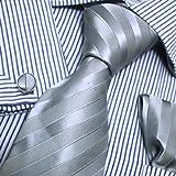 Designer Inspired Silver Stripes Jacquard Woven Silk Tie Hanky Mens Necktie Cuff Links Cufflinks Set with Gift Box Set PH1019 148cm*9cm Blue