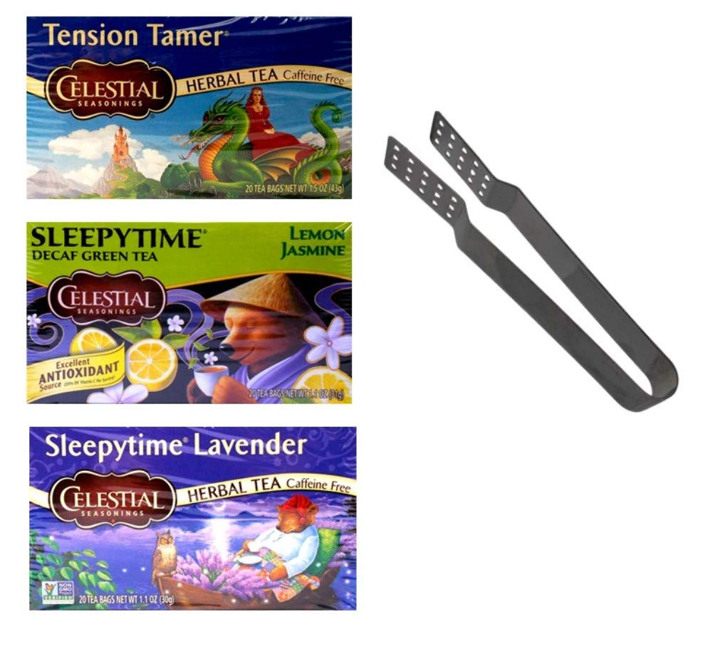 Celestial Seasonings Sleepytime Caffeine Free Herbal Tea 3 Flavor Variety with Bag Squeezer Bundle, 1 Each: Tension Tamer, Green Lemon Jasmine, Lavender (20 Count Boxes)