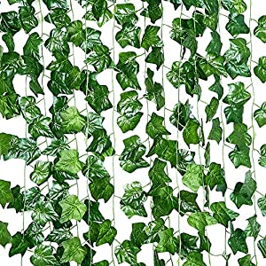 90FT-12 Pack Artificial Ivy Hanging Plants Greenery Faux Vines Fake Green Leaves Garland Wedding Wall Décor Home Kitchen Garden Office 102