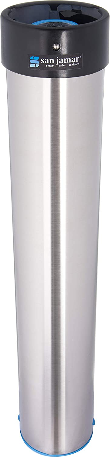 "San Jamar C3400E Stainless Steel Vertical Surface Mount Beverage Cup Dispenser, Fits 12oz to 24oz Cup Size, 2-3/4"" to 3-7/8"" Rim, 23-1/2"" Tube Length"