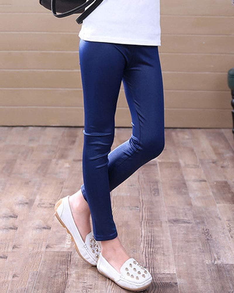 Las Ni/ñas Full Length Leggings PU Cuero Delgado Cintura El/ástico Pantalones De L/ápiz