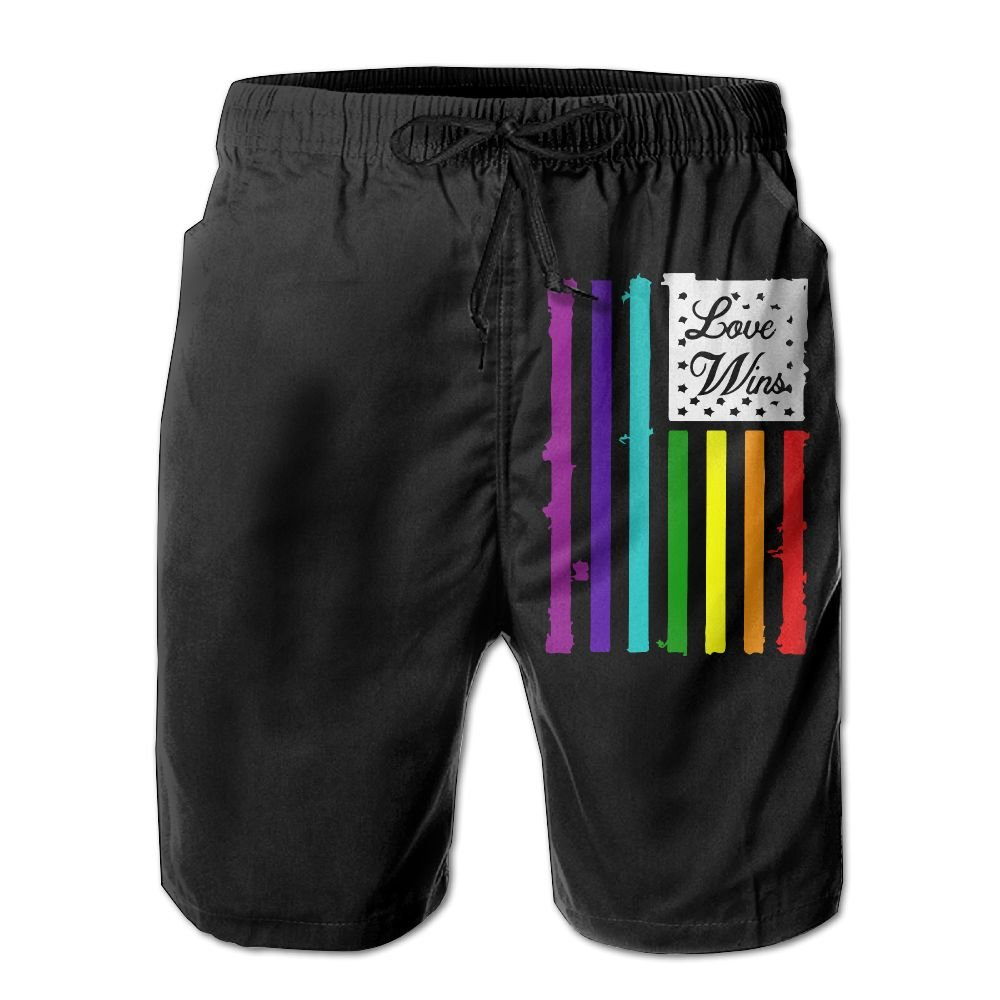 Love Wins American Flag Multi Color Mens Lightweight Beach Shorts Surf Yoga Swimming Shorts with Pockets