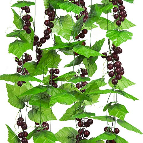 (Molliy 8FT 5pcs Artificial Greenery Chain Grapes Vines Leaves Foliage Simulation Fruits for Home Room Garden Wedding Garland Outside Decoration)