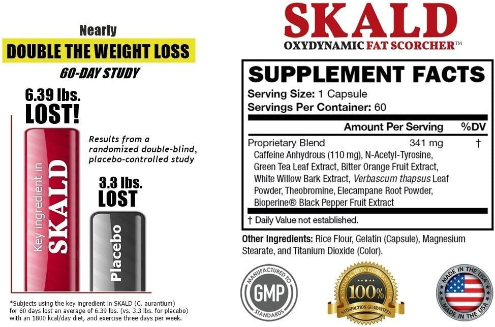 SKALD First Fat Burner Pills with Respiratory Support - Best Weight Loss Supplements for Men and Women - Works Fast for Cardio, Endurance, HIIT, etc - Top Thermogenic Energy Booster (60 Capsules)
