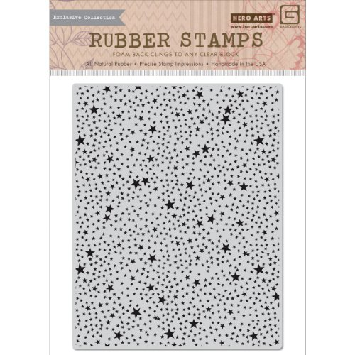 Hero Arts RSVP Cling Stamps, Tiny Star Background, Basic Grey