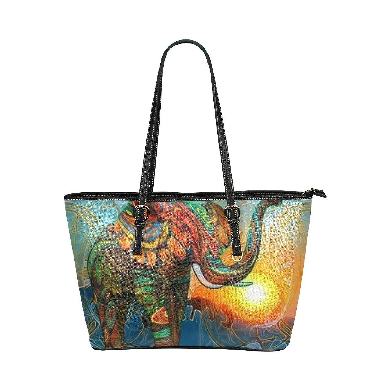 Colorful Elephant Women's Leather Tote Large Bag/Handbag/Shoulder Bag By Boom~Shakalaka