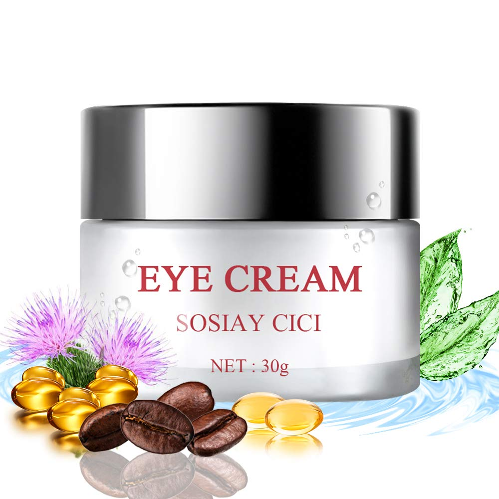 Anti Aging Eye Cream Moisturizer, Eye Cream for Dark Circles and Puffiness, Reduce Dryness with Hyaluronic Acid, Vitamin E & Caffine, 30g (30) by SOSIAY CICI