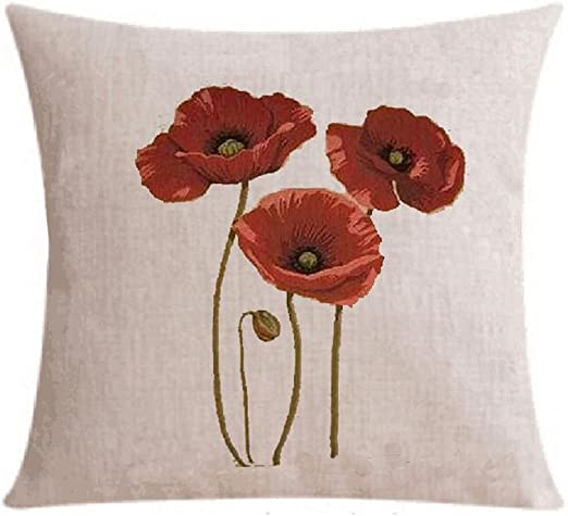 Twin Sides Red Poppy Flower Art Painting Throw Pillow Case Zippered Cushion Cover//Case Pillowcase Home Sofa Decorative 18 X 18 Inch