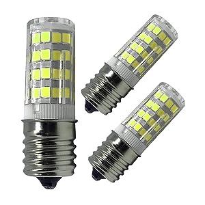 E17 LED Bulb, 5W Ceramic Led E17 Bulb Lighting Equivalent 40W Halogen Bulbs, AC 110V-120V Daylight White 6000K Light Bulbs for Microwave Oven,Oven Appliance,Stovetop Light, Non-Dimmable (3 Pack)
