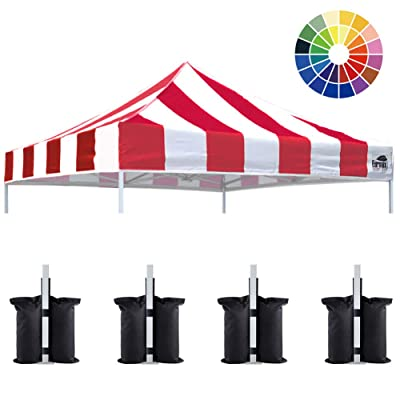 Eurmax New 10x10 Pop Up Canopy Replacement Canopy Tent Top Cover, Instant Ez Canopy Top Cover ONLY, Choose 30 Colors Stripe Red : Gazebos : Garden & Outdoor