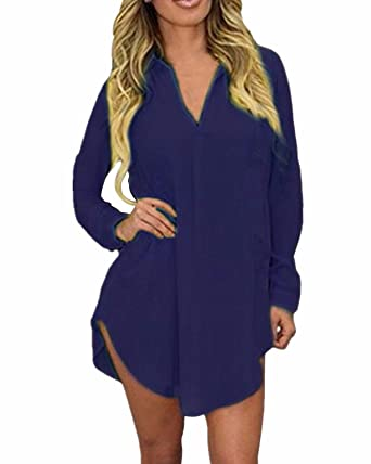 98d033331f ZANZEA Women Sexy V-neck Long Sleeve Tops Loose Blouse T-shirt Short Dress