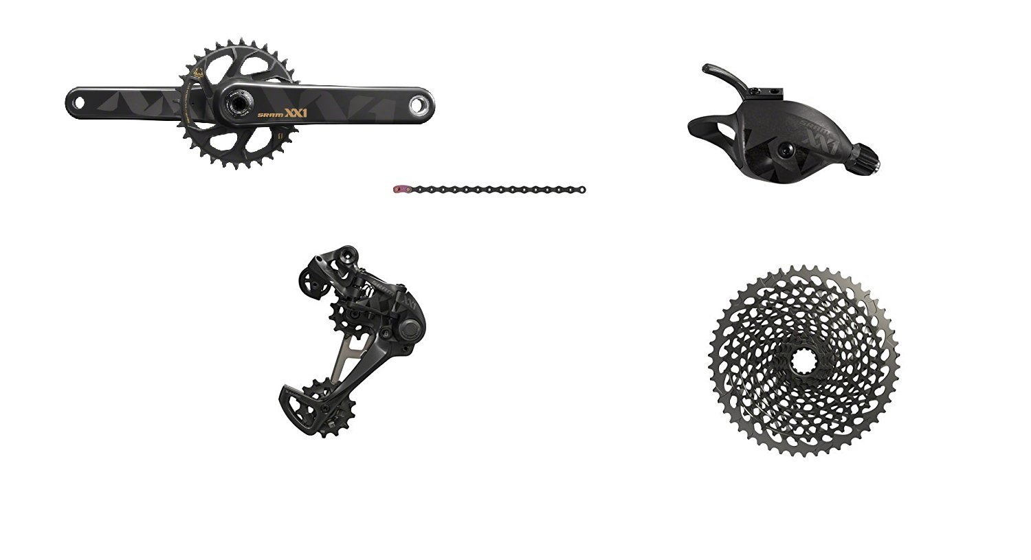 SRAM XX1 Eagle GXP Boost 175mm Groupset, Black with Black/Gold Crank