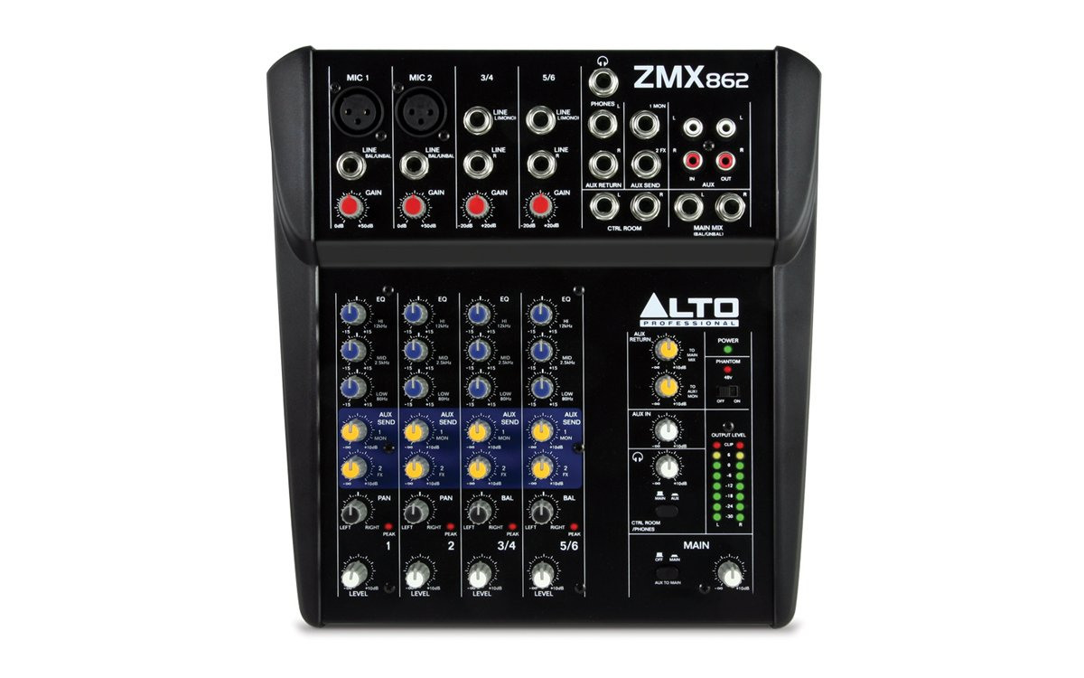 Alto Professional ZMX862 | 6-Channel 2-Bus Mixer with 12 Inputs, 3-Band EQ per Channel & +48V Phantom Power