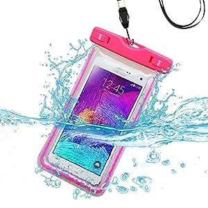 HTC Desire 626 case, Desire 626/626s Waterproof Snowproof Dirtproof Money Dry bag Kayaking Hiking Swimming Boating Fishing with Lanyard (Waterproof Hot Pink Lightning)