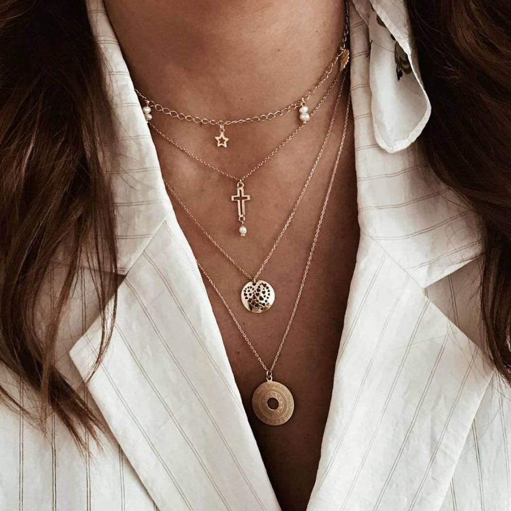 Jovono Boho collares multicapas con perlas de estrás cruz disco colgante collar cadena joyas para mujeres y niñas (oro)