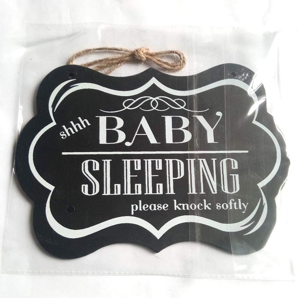 Luerme 壁掛けボード 木製 ホームデコレーションサイン 「Shhh Baby Sleeping」 家庭用ハンギングボード unique Luerme-123 1 unique  B07PZ6S86G