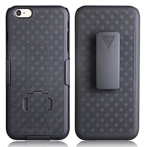 Rubberized Case Clip (iPhone 6s Plus Case, De-bin iPhone 6s Plus Case with Belt Clip Super Slim Hard Armor Cover Holster Case, iPhone 6s Plus Cases with Kickstand and Belt Clip Case for Apple iPhone 6s Plus Phone - Black)