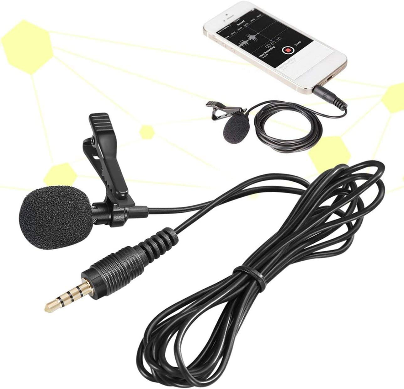 Ballylelly Mini Lavalier Mic Micr/ófono Estuche para iPhone Smartphone Grabaci/ón Pc Clip-On Solapa Soporte Micr/ófono Contestador Tel/éfono