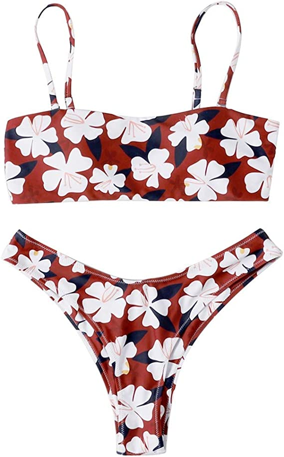Traje de baño Mujer Bikini Dos Piezas Volante de Patchwork sin Mangas con Cuello de Pico Vintage Conjunto de Trajes de Baño Bikini Brasileño Bikini De Encaje Sexy para Mujer Sujetador De