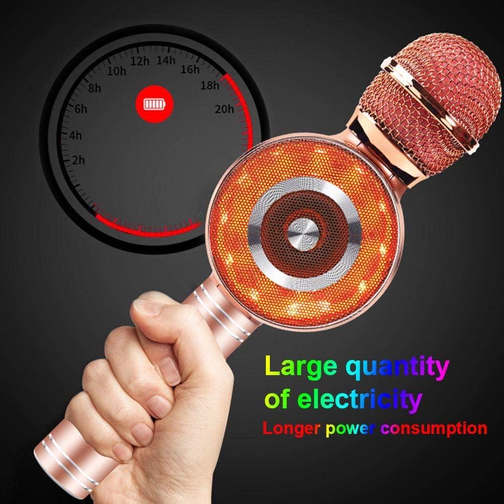 Dengofng Micrófono inalámbrico de Karaoke Bluetooth con Color del Arco Iris LED Flash de luz para rimar Grabación Micrófono de Mano portátil Altavoz tabletas de teléfonos Inteligentes, laptops Enlace