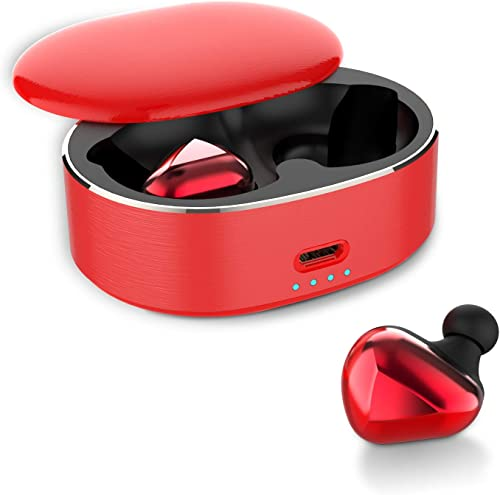 Wireless Earbuds Bluetooth 5.0 Headphones in-Ear TWS Mini Headset for Sport Extra Bass Stereo Earphones HD Sound IPX6 Waterproof Noise Cancelling Mic Red red