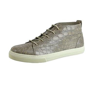 bbcb7d4fabb Gucci Men s Tan Crocodile High-top Fashion Sneakers 342045 1523 (9 G   9.5