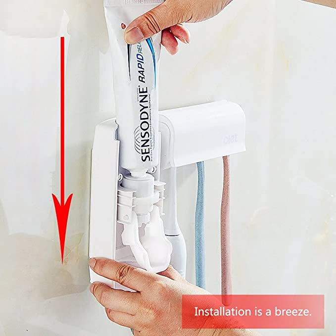 Amazon.com: Toothpaste Dispenser Wall Mounted 5 Toothbrush holder with Automatic Toothpaste Squeezer Dispenser Anti-dust Toothbrush Holder for kids: Home & ...