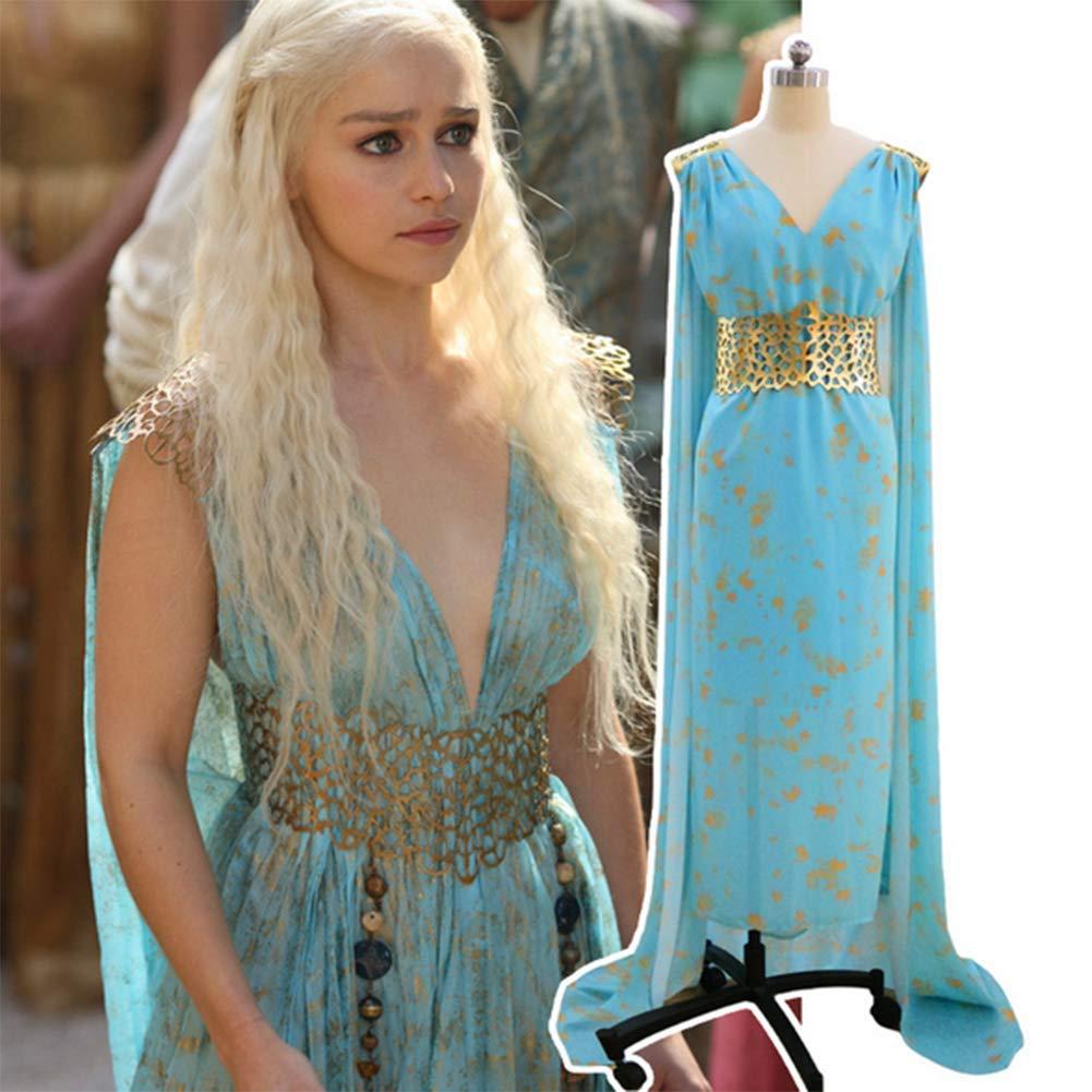 HJQ Game of Thrones Daenerys Targaryen Cosplay Gold Belt Blue Qarth Party Dress Halloween Cosplay Party Dress Up Costume,Blue,M by HJQ