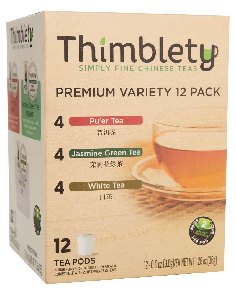 Thimblety Premium Natural Chinese Tea Variety Keurig Compatible K-Cup 12 Pack, brew 2 cups per pod by Thimblety