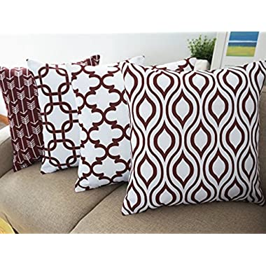 Howarmer Canvas Cotton Throw Pillows Cover for Couch Set of 4 Brown Accent Pattern 18 X 18-inch