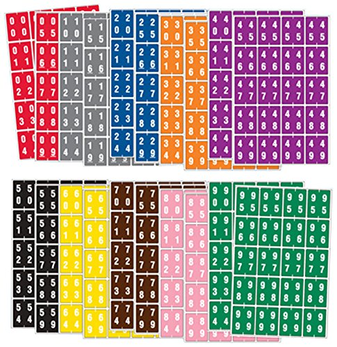 "AMES COMPATIBLE SDD00-99 Double Digit Permanent Color Code Label, Mylar, Numeric,""00-99"", 1 1/2"" x 1 7/8"", Assorted Colors (Pack of 20)"