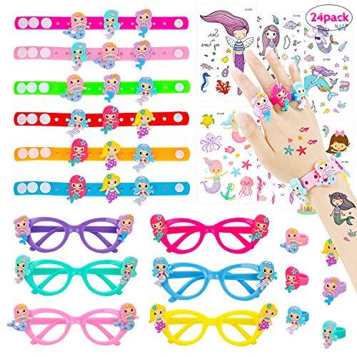 Konsait 24 Pack Mermaid Party Favors Supplies, Mermaid Bracelet, Rings, Tattoos, Kids Novelty Glasses, Children Party Bag Fillers for Kids Girls Mermaid Birthday Gifts -