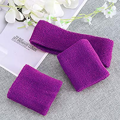 Sweatbands Set Includes Pieces Sports Headband and Pieces Wristbands Sweatbands Stretchy Sweatband Set for Men and Women Purple Estimated Price - £12.85